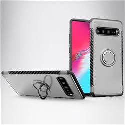 Armor Anti Drop Carbon PC + Silicon Invisible Ring Holder Phone Case for Samsung Galaxy S10 5G (6.7 inch) - Silver