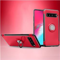 Armor Anti Drop Carbon PC + Silicon Invisible Ring Holder Phone Case for Samsung Galaxy S10 5G (6.7 inch) - Red