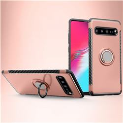 Armor Anti Drop Carbon PC + Silicon Invisible Ring Holder Phone Case for Samsung Galaxy S10 5G (6.7 inch) - Rose Gold