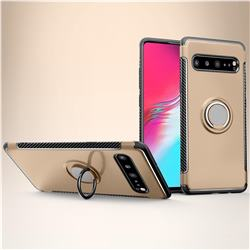 Armor Anti Drop Carbon PC + Silicon Invisible Ring Holder Phone Case for Samsung Galaxy S10 5G (6.7 inch) - Champagne