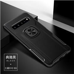 Knight Armor Anti Drop PC + Silicone Invisible Ring Holder Phone Cover for Samsung Galaxy S10 5G (6.7 inch) - Black
