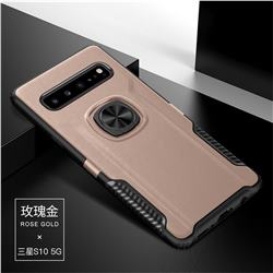 Knight Armor Anti Drop PC + Silicone Invisible Ring Holder Phone Cover for Samsung Galaxy S10 5G (6.7 inch) - Rose Gold