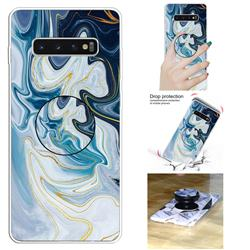 Blue Gold Line Marble Pop Stand Holder Varnish Phone Cover for Samsung Galaxy S10 5G (6.7 inch)