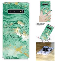 Dark Green Marble Pop Stand Holder Varnish Phone Cover for Samsung Galaxy S10 5G (6.7 inch)