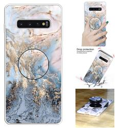 Golden Gray Marble Pop Stand Holder Varnish Phone Cover for Samsung Galaxy S10 5G (6.7 inch)