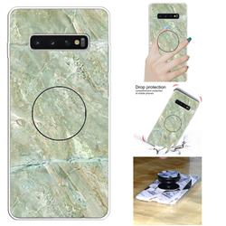 Light Green Marble Pop Stand Holder Varnish Phone Cover for Samsung Galaxy S10 5G (6.7 inch)