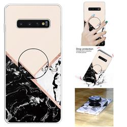 Black White Marble Pop Stand Holder Varnish Phone Cover for Samsung Galaxy S10 5G (6.7 inch)