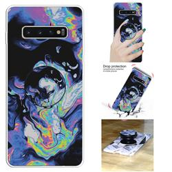 Black Purple Marble Pop Stand Holder Varnish Phone Cover for Samsung Galaxy S10 5G (6.7 inch)