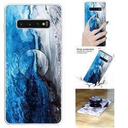 Dark Blue Marble Pop Stand Holder Varnish Phone Cover for Samsung Galaxy S10 5G (6.7 inch)