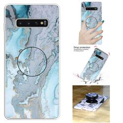Silver Blue Marble Pop Stand Holder Varnish Phone Cover for Samsung Galaxy S10 5G (6.7 inch)