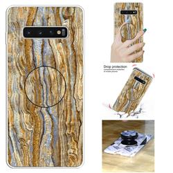Brown Golden Marble Pop Stand Holder Varnish Phone Cover for Samsung Galaxy S10 5G (6.7 inch)