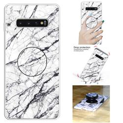 White Marble Pop Stand Holder Varnish Phone Cover for Samsung Galaxy S10 5G (6.7 inch)