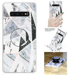 Triangle Marble Pop Stand Holder Varnish Phone Cover for Samsung Galaxy S10 5G (6.7 inch)