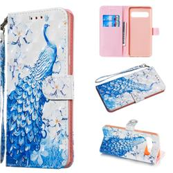 Blue Peacock 3D Painted Leather Wallet Phone Case for Samsung Galaxy S10 5G (6.7 inch)