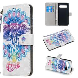 Colorful Elephant 3D Painted Leather Wallet Phone Case for Samsung Galaxy S10 5G (6.7 inch)