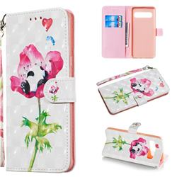 Flower Panda 3D Painted Leather Wallet Phone Case for Samsung Galaxy S10 5G (6.7 inch)
