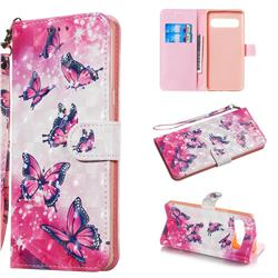 Pink Butterfly 3D Painted Leather Wallet Phone Case for Samsung Galaxy S10 5G (6.7 inch)
