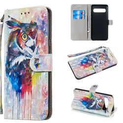 Watercolor Owl 3D Painted Leather Wallet Phone Case for Samsung Galaxy S10 5G (6.7 inch)