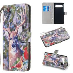 Elk Deer 3D Painted Leather Wallet Phone Case for Samsung Galaxy S10 5G (6.7 inch)