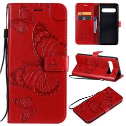 Embossing 3D Butterfly Leather Wallet Case for Samsung Galaxy S10 5G (6.7 inch) - Red
