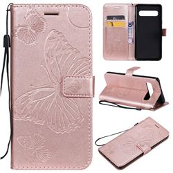 Embossing 3D Butterfly Leather Wallet Case for Samsung Galaxy S10 5G (6.7 inch) - Rose Gold