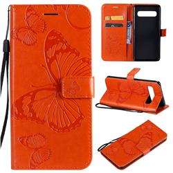 Embossing 3D Butterfly Leather Wallet Case for Samsung Galaxy S10 5G (6.7 inch) - Orange