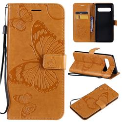 Embossing 3D Butterfly Leather Wallet Case for Samsung Galaxy S10 5G (6.7 inch) - Yellow