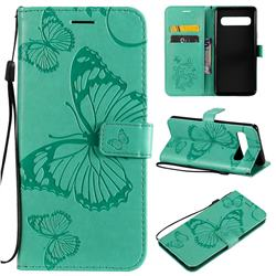 Embossing 3D Butterfly Leather Wallet Case for Samsung Galaxy S10 5G (6.7 inch) - Green