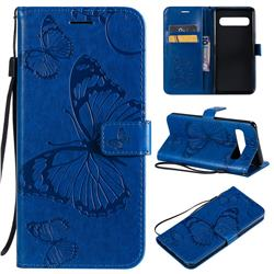 Embossing 3D Butterfly Leather Wallet Case for Samsung Galaxy S10 5G (6.7 inch) - Blue