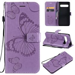 Embossing 3D Butterfly Leather Wallet Case for Samsung Galaxy S10 5G (6.7 inch) - Purple
