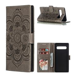 Intricate Embossing Datura Solar Leather Wallet Case for Samsung Galaxy S10 5G (6.7 inch) - Gray