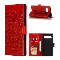 Intricate Embossing Datura Solar Leather Wallet Case for Samsung Galaxy S10 5G (6.7 inch) - Red