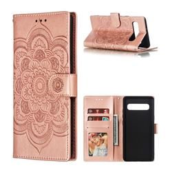Intricate Embossing Datura Solar Leather Wallet Case for Samsung Galaxy S10 5G (6.7 inch) - Rose Gold