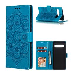 Intricate Embossing Datura Solar Leather Wallet Case for Samsung Galaxy S10 5G (6.7 inch) - Blue
