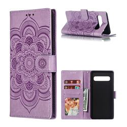Intricate Embossing Datura Solar Leather Wallet Case for Samsung Galaxy S10 5G (6.7 inch) - Purple