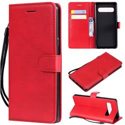 Retro Greek Classic Smooth PU Leather Wallet Phone Case for Samsung Galaxy S10 5G (6.7 inch) - Red
