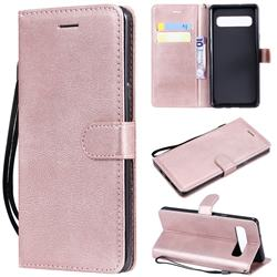 Retro Greek Classic Smooth PU Leather Wallet Phone Case for Samsung Galaxy S10 5G (6.7 inch) - Rose Gold