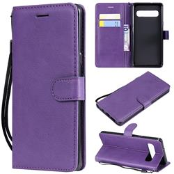 Retro Greek Classic Smooth PU Leather Wallet Phone Case for Samsung Galaxy S10 5G (6.7 inch) - Purple