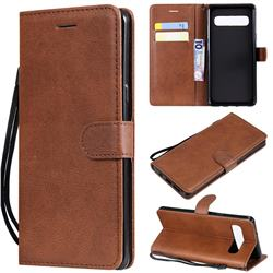 Retro Greek Classic Smooth PU Leather Wallet Phone Case for Samsung Galaxy S10 5G (6.7 inch) - Brown