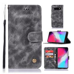 Luxury Retro Leather Wallet Case for Samsung Galaxy S10 5G (6.7 inch) - Gray