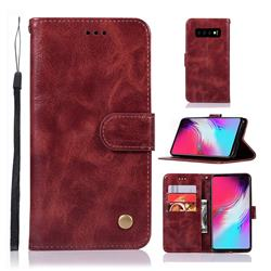 Luxury Retro Leather Wallet Case for Samsung Galaxy S10 5G (6.7 inch) - Wine Red