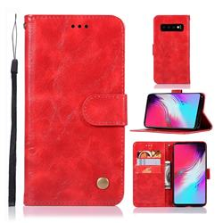 Luxury Retro Leather Wallet Case for Samsung Galaxy S10 5G (6.7 inch) - Red