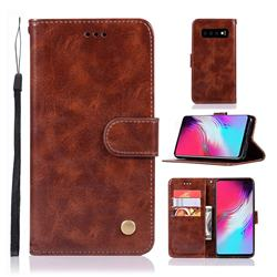 Luxury Retro Leather Wallet Case for Samsung Galaxy S10 5G (6.7 inch) - Brown