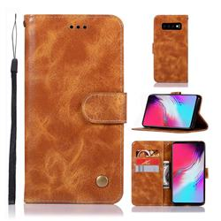 Luxury Retro Leather Wallet Case for Samsung Galaxy S10 5G (6.7 inch) - Golden