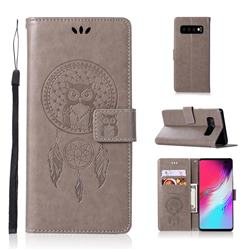 Intricate Embossing Owl Campanula Leather Wallet Case for Samsung Galaxy S10 5G (6.7 inch) - Grey
