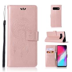 Intricate Embossing Owl Campanula Leather Wallet Case for Samsung Galaxy S10 5G (6.7 inch) - Rose Gold