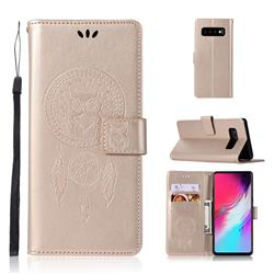 Intricate Embossing Owl Campanula Leather Wallet Case for Samsung Galaxy S10 5G (6.7 inch) - Champagne