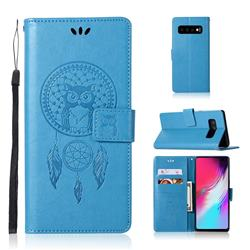 Intricate Embossing Owl Campanula Leather Wallet Case for Samsung Galaxy S10 5G (6.7 inch) - Blue