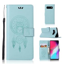 Intricate Embossing Owl Campanula Leather Wallet Case for Samsung Galaxy S10 5G (6.7 inch) - Green