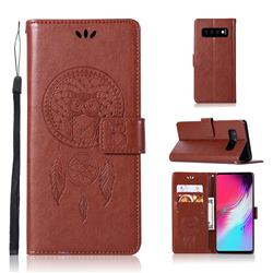 Intricate Embossing Owl Campanula Leather Wallet Case for Samsung Galaxy S10 5G (6.7 inch) - Brown